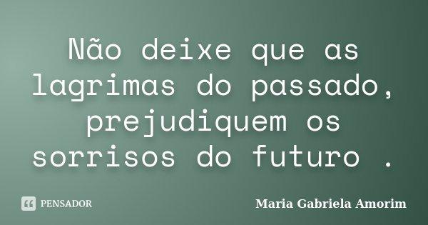 Não deixe que as lagrimas do passado, prejudiquem os sorrisos do futuro .... Frase de Maria Gabriela Amorim.