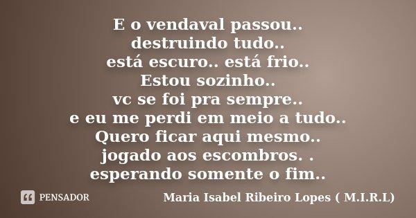 E o vendaval passou.. destruindo tudo.. está escuro.. está frio.. Estou sozinho.. vc se foi pra sempre.. e eu me perdi em meio a tudo.. Quero ficar aqui mesmo..... Frase de Maria Isabel Ribeiro Lopes ( M.I.R.L ).
