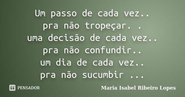 Um Passo De Cada Vez Pra Não Maria Isabel Ribeiro Lopes