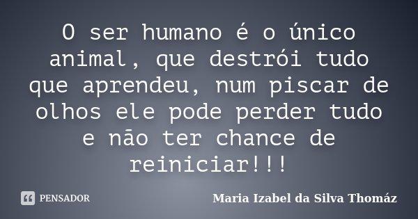 O ser humano é o único animal, que destrói tudo que aprendeu, num piscar de olhos ele pode perder tudo e não ter chance de reiniciar!!!... Frase de Maria Izabel da Silva Thomáz.