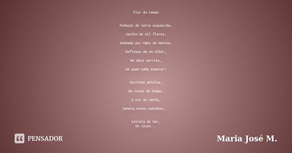 Flor do Campo Pedaços de terra esquecida, Jardim de mil flores, Semeado por mãos de menina. Reflexos de um olhar, No doce sorriso, De quem sabe esperar! Secreta... Frase de Maria José M..