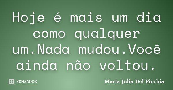 Hoje é mais um dia como qualquer um.Nada mudou.Você ainda não voltou.... Frase de Maria Julia Del Picchia.