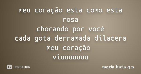 meu coração esta como esta rosa chorando por você cada gota derramada dilacera meu coração viuuuuuuu... Frase de maria lucia g p.