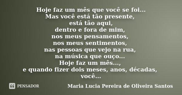 Hoje faz um mês que você se foi... Mas você está tão presente, está tão aqui, dentro e fora de mim, nos meus pensamentos, nos meus sentimentos, nas pessoas que ... Frase de Maria Lucia Pereira de Oliveira Santos.