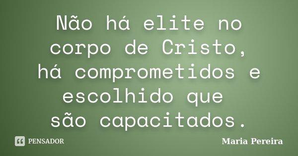 Não há elite no corpo de Cristo, há comprometidos e escolhido que são capacitados.... Frase de Maria Pereira.