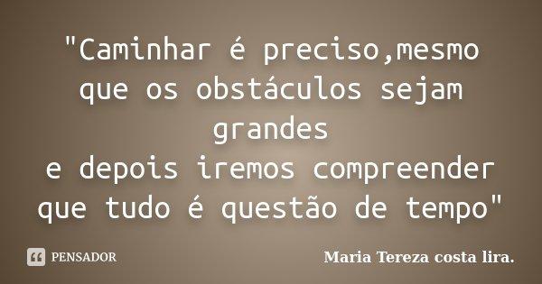 """""""Caminhar é preciso,mesmo que os obstáculos sejam grandes e depois iremos compreender que tudo é questão de tempo""""... Frase de Maria Tereza costa lira."""