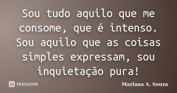 Sou tudo aquilo que me consome, que é intenso. Sou aquilo que as coisas simples expressam, sou inquietação pura!... Frase de Mariana A. Souza.