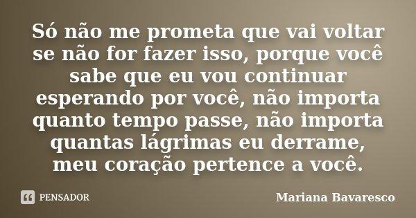 Só não me prometa que vai voltar se não for fazer isso, porque você sabe que eu vou continuar esperando por você, não importa quanto tempo passe, não importa qu... Frase de Mariana Bavaresco.
