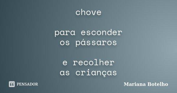 chove para esconder os pássaros e recolher as crianças... Frase de Mariana Botelho.
