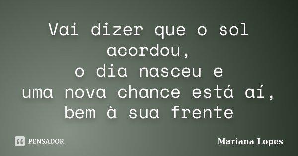 Vai dizer que o sol acordou, o dia nasceu e uma nova chance está aí, bem à sua frente... Frase de Mariana Lopes.