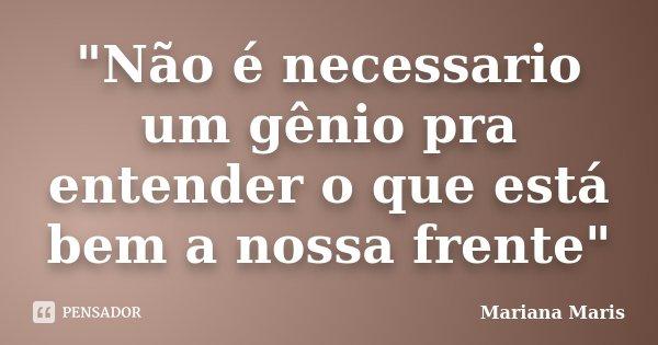 """""""Não é necessario um gênio pra entender o que está bem a nossa frente""""... Frase de Mariana Maris."""
