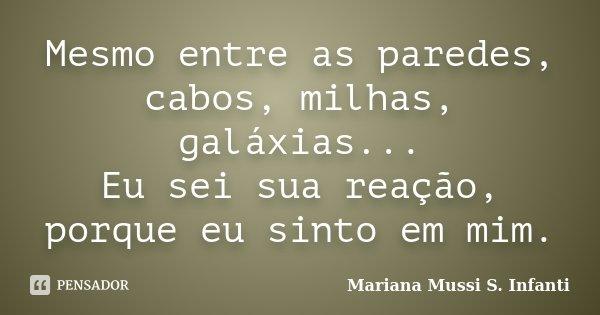 Mesmo entre as paredes, cabos, milhas, galáxias... Eu sei sua reação, porque eu sinto em mim.... Frase de Mariana Mussi S. Infanti.