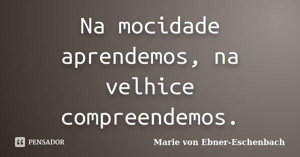 Na mocidade aprendemos, na velhice compreendemos.... Frase de Marie Von Ebner-Eschenbach.