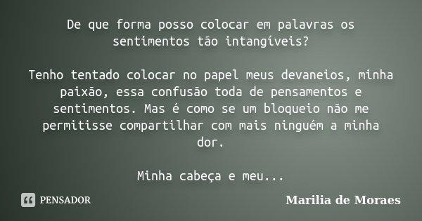De que forma posso colocar em palavras os sentimentos tão intangíveis? Tenho tentado colocar no papel meus devaneios, minha paixão, essa confusão toda de pensam... Frase de Marilia de Moraes.