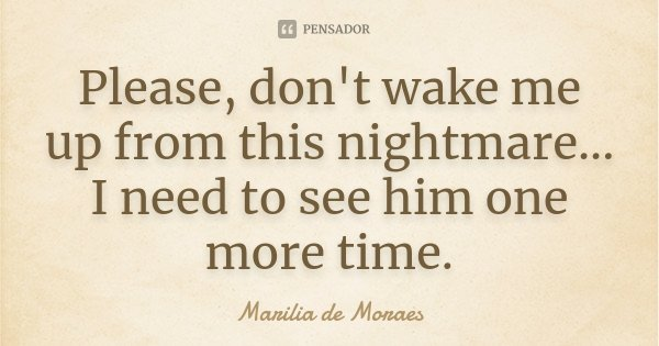 Please, don't wake me up from this nightmare... I need to see him one more time.... Frase de Marilia de Moraes.