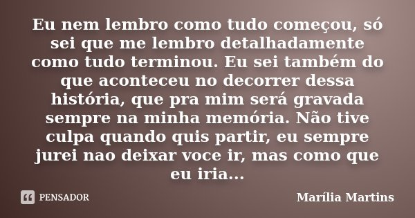 Eu nem lembro como tudo começou, só sei que me lembro detalhadamente como tudo terminou. Eu sei também do que aconteceu no decorrer dessa história, que pra mim ... Frase de Marília Martins.