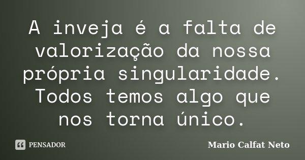 A inveja é a falta de valorização da nossa própria singularidade. Todos temos algo que nos torna único.... Frase de Mario Calfat Neto.