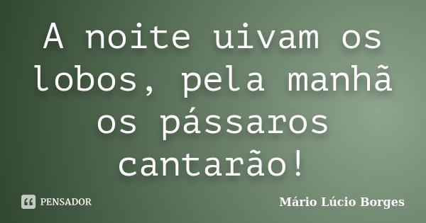 A noite uivam os lobos, pela manhã os pássaros cantarão!... Frase de Mário Lúcio Borges.
