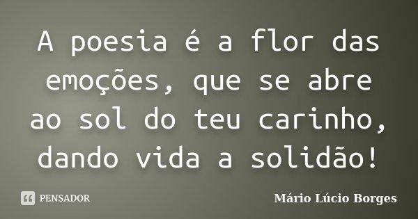 A poesia é a flor das emoções, que se abre ao sol do teu carinho, dando vida a solidão!... Frase de Mário Lúcio Borges.