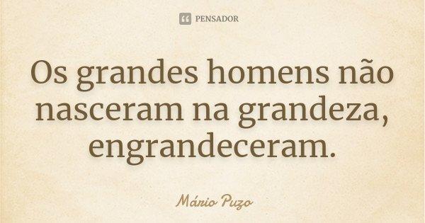 Os grandes homens não nasceram na grandeza, engrandeceram.... Frase de Mario Puzo.
