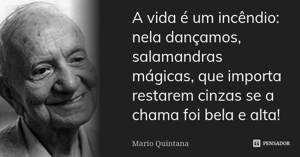 A vida é um incêndio: nela dançamos, salamandras mágicas, que importa restarem cinzas se a chama foi bela e alta!... Frase de Mario Quintana.
