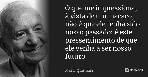 O que me impressiona, à vista de um macaco, não é que ele tenha sido nosso passado: é este pressentimento de que ele venha a ser nosso futuro.... Frase de Mario Quintana.
