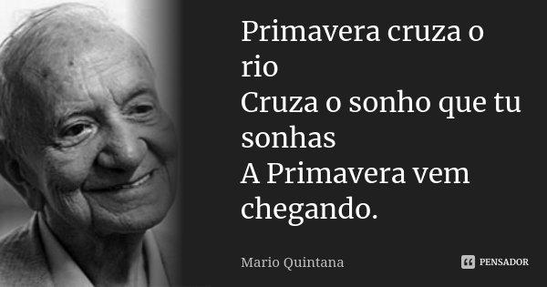 Primavera cruza o rio Cruza o sonho que tu sonhas A Primavera vem chegando.... Frase de Mario Quintana.