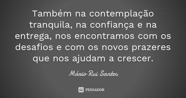 Também na contemplação tranquila, na confiança e na entrega, nos encontramos com os desafios e com os novos prazeres que nos ajudam a crescer.... Frase de Mário Rui Santos.