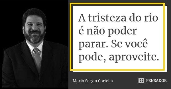 A tristeza do rio é não poder parar. Se você pode, aproveite.... Frase de Mario Sergio Cortella.
