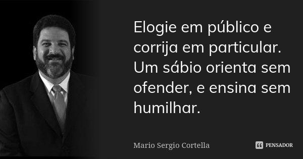 Elogie em público e corrija em particular. Um sábio orienta sem ofender, e ensina sem humilhar.... Frase de Mario Sergio Cortella.