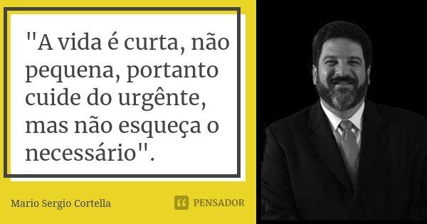 """""""A vida é curta, não pequena, portanto cuide do urgênte, mas não esqueça o necessário"""".... Frase de Mário Sérgio Cortella."""