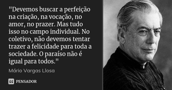 """""""Devemos buscar a perfeição na criação, na vocação, no amor, no prazer. Mas tudo isso no campo individual. No coletivo, não devemos tentar trazer a felicid... Frase de Mário Vargas Llosa."""