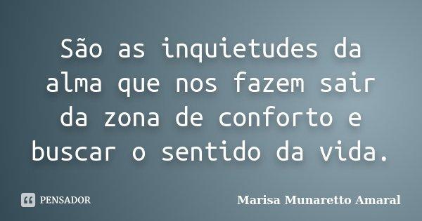 São as inquietudes da alma que nos fazem sair da zona de conforto e buscar o sentido da vida.... Frase de Marisa Munaretto Amaral.
