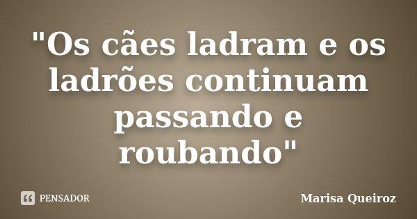 """""""Os cães ladram e os ladrões continuam passando e roubando""""... Frase de Marisa Queiroz."""