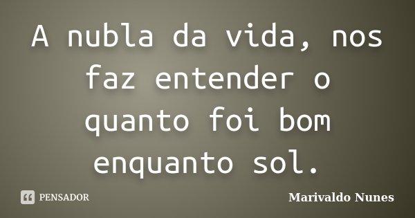 A nubla da vida, nos faz entender o quanto foi bom enquanto sol.... Frase de Marivaldo Nunes.