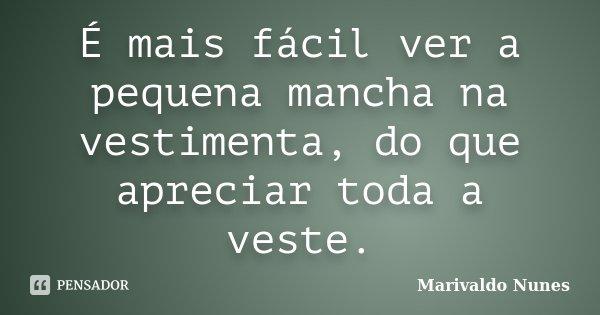É mais fácil ver a pequena mancha na vestimenta, do que apreciar toda a veste.... Frase de Marivaldo Nunes.