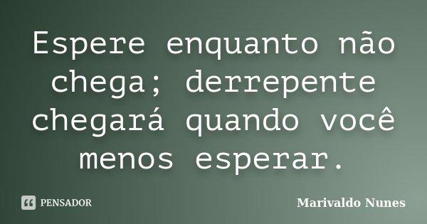 Espere enquanto não chega; derrepente chegará quando você menos esperar.... Frase de Marivaldo Nunes.