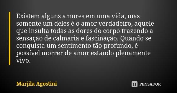 Existem alguns amores em uma vida, mas somente um deles é o amor verdadeiro, aquele que insulta todas as dores do corpo trazendo a sensação de calmaria e fascin... Frase de Marjila Agostini.