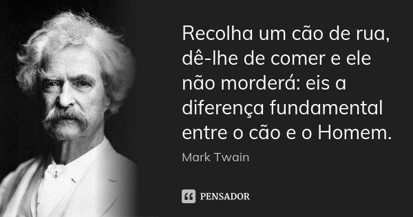 Recolha um cão de rua, dê-lhe de comer e ele não morderá: eis a diferença fundamental entre o cão e o Homem.... Frase de Mark Twain.