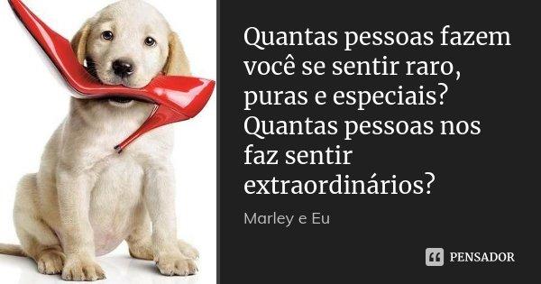 Quantas pessoas fazem você se sentir raro, puras e especiais? Quantas pessoas nos faz sentir extraordinários?... Frase de Marley e Eu.