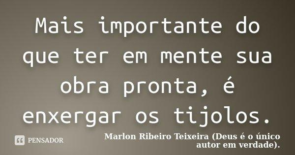 Mais importante do que ter em mente sua obra pronta, é enxergar os tijolos.... Frase de Marlon Ribeiro Teixeira (Deus é o único autor em verdade)..