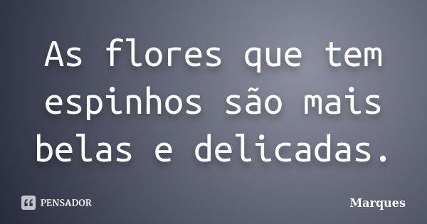 As flores que tem espinhos são mais belas e delicadas.... Frase de Marques.