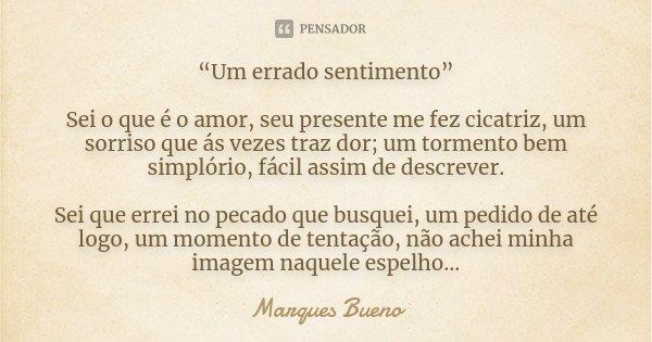"""""""Um errado sentimento"""" Sei o que é o amor, seu presente me fez cicatriz, um sorriso que ás vezes traz dor; um tormento bem simplório, fácil assim de descrever. ... Frase de Marques Bueno."""