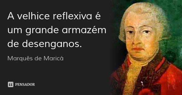 A velhice reflexiva é um grande armazém de desenganos.... Frase de Marquês de Maricá.