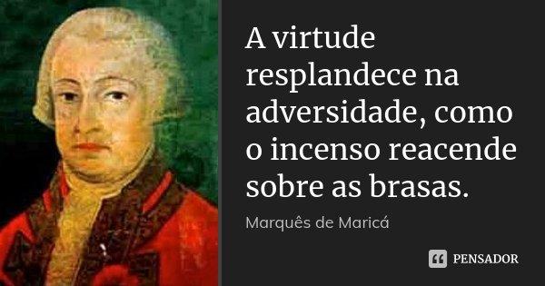 A virtude resplandece na adversidade, como o incenso reacende sobre as brasas.... Frase de Marquês de Maricá.