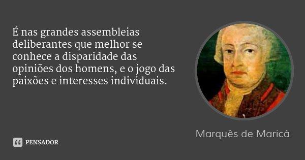 É nas grandes assembleias deliberantes que melhor se conhece a disparidade das opiniões dos homens, e o jogo das paixões e interesses individuais.... Frase de Marquês de Maricá.