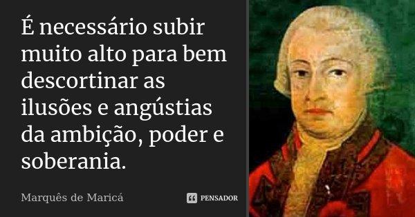 É necessário subir muito alto para bem descortinar as ilusões e angústias da ambição, poder e soberania.... Frase de Marquês de Maricá.
