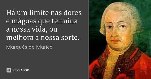 Há um limite nas dores e mágoas que termina a nossa vida, ou melhora a nossa sorte.... Frase de Marquês de Maricá.