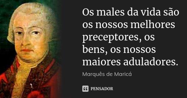 Os males da vida são os nossos melhores preceptores, os bens, os nossos maiores aduladores.... Frase de Marquês de Maricá.