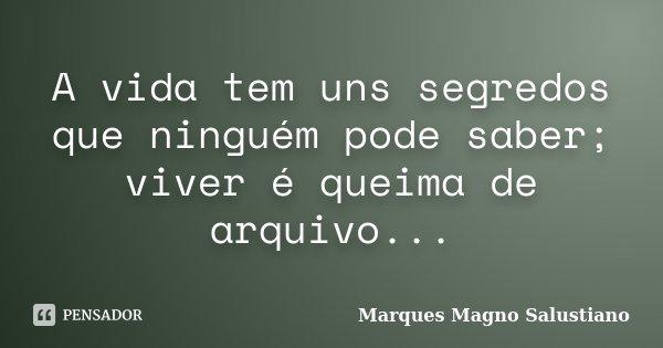A vida tem uns segredos que ninguém pode saber; viver é queima de arquivo...... Frase de Marques Magno Salustiano.
